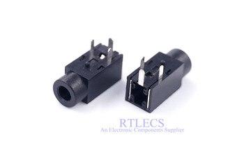 Conector de teléfono de 1000 piezas de diámetro de 2,5mm 3 clavijas de audio para conector de auriculares de 3 polos a través del agujero ángulo recto 1 De DC30V 0.5A