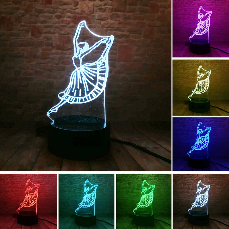 Dance Girl Model 3D Illusion LED NightLight Colourful Flash Light Touch Table Lamp Desk Docor Toys for Girls Holiday gift