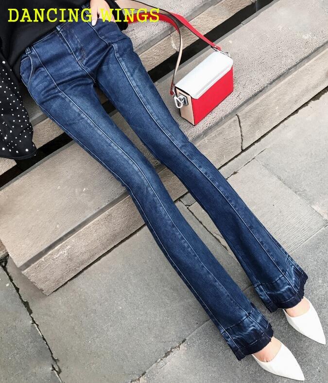 Jambes Épais Larges À Pantalon Taille Femmes 2019 Automne Chaud Hiver Flare Skinny Bleu Velours Haute Jeans Stretch n7YqwwOP