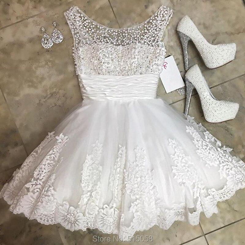 Шикарный жемчужина бисером белого кружева короткие мини свадебные платья 2016 одеяние мантия-де-mariage
