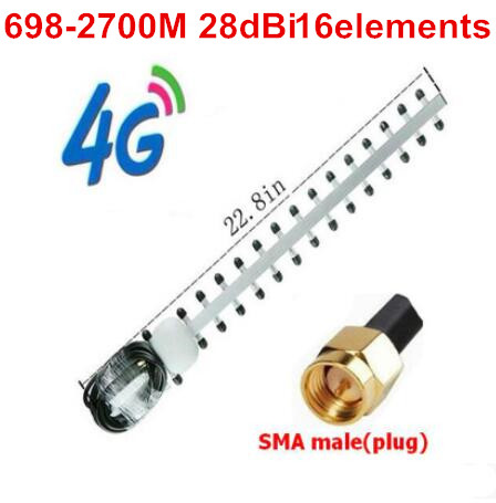 Antenne yagi à gain élevé OSHINVOY 4G 28dBi 16 éléments 698-2700 MHz antenne yagi LTE 4G routeur toit extérieur antenne yagi