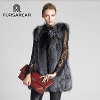 FURSARCAR 2017 NEW Real Fox Fur Coat For Women Natural Gray Color Winter Medium Genuine True Fox Fur Vest Plus Size jacket 03113