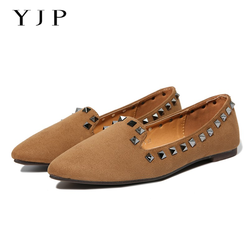 YJP Women Rivet Moccasins, Black/Khaki/Green Suede Flats, Ladies Studded Slides, Soft Pointed Toe Slip On Women's Flat Shoes meotina brand design mules shoes 2017 women flats spring summer pointed toe kid suede flat shoes ladies slides black size 34 39