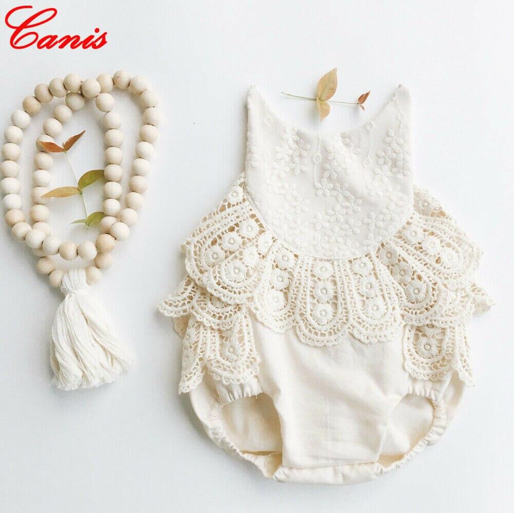 Для новорожденных для маленьких девочек модные комбинезон без рукавов боди с низким вырезом на спине, комбинезон комплекты одежды 0-12 месяц...