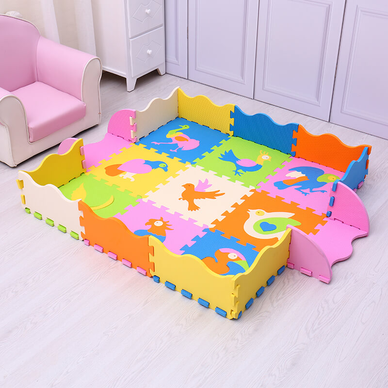 Mei Qi Cool EVA baby play mat 9pcs numbers animals pattern foam puzzle cushion for kids gym baby activity crawling rug toys