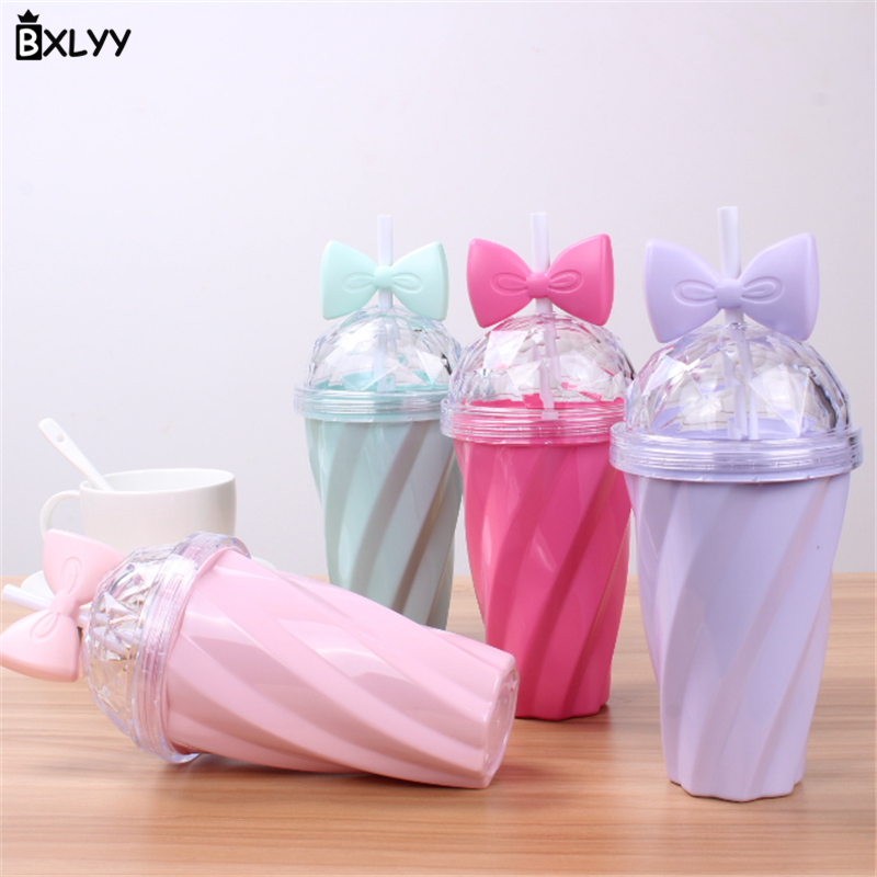 BXLYY 1pc Candy Color Plastic Straw Water Bottle Seal Bow Twist Kettle Kitchen Accessories Party Decoration Gift Coffee Mug 8z in Water Bottles from Home Garden