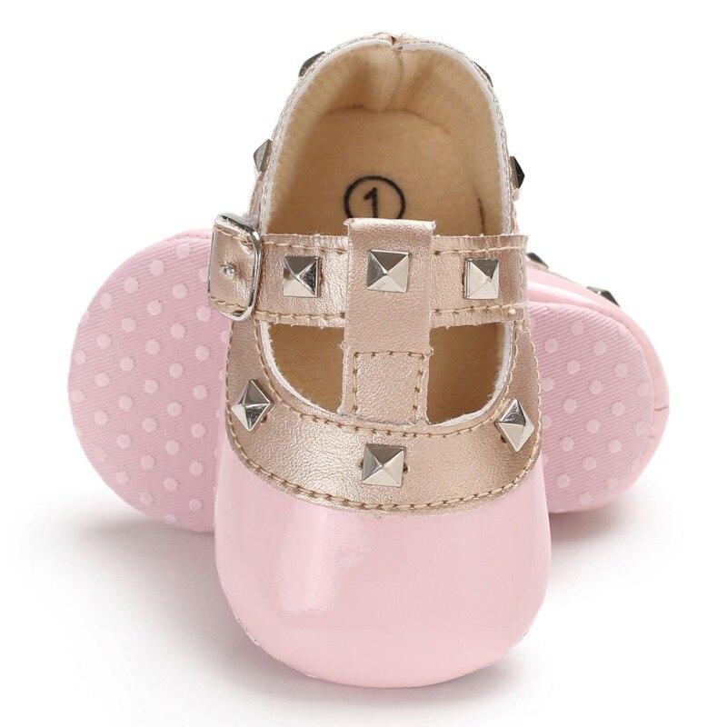 Fashion Autumn Winter Stitching Rivet Princess Shoes Cute Baby Girl Soft Soled PU Shoes Infant Walking Dress Shoe