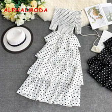 ALPHALMODA 2019 Summer Sweet Polka Dot Ruffled Chiffon Dress Women Stretchy Chest High Waist Ladies Elegant Party Vestidos