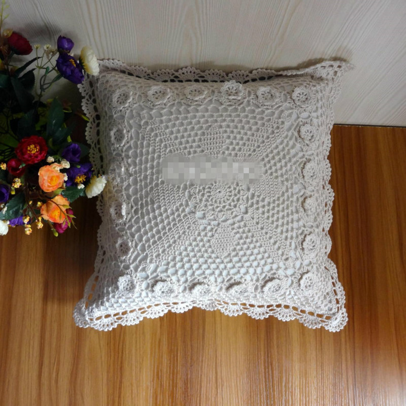 acheter 100 coton crochet fait main housse de coussin taie d 39 oreiller 40 45 cm. Black Bedroom Furniture Sets. Home Design Ideas