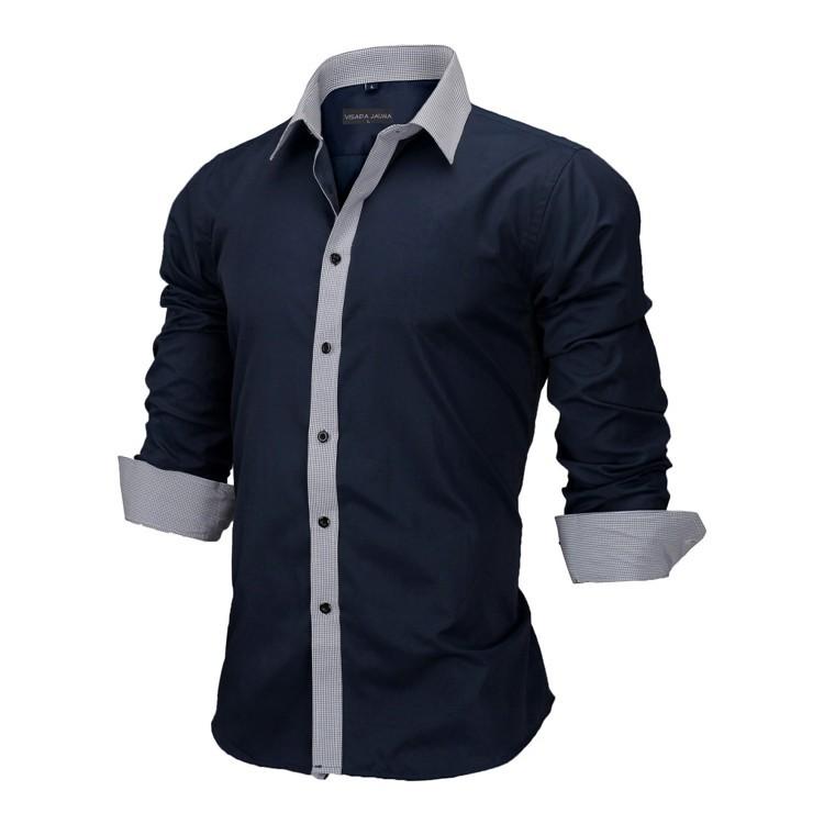 HTB15N47KVXXXXcXXXXXq6xXFXXXy - New Arrivals Slim Fit Male Shirt Solid Long Sleeve British Style Cotton Men's Shirt N332