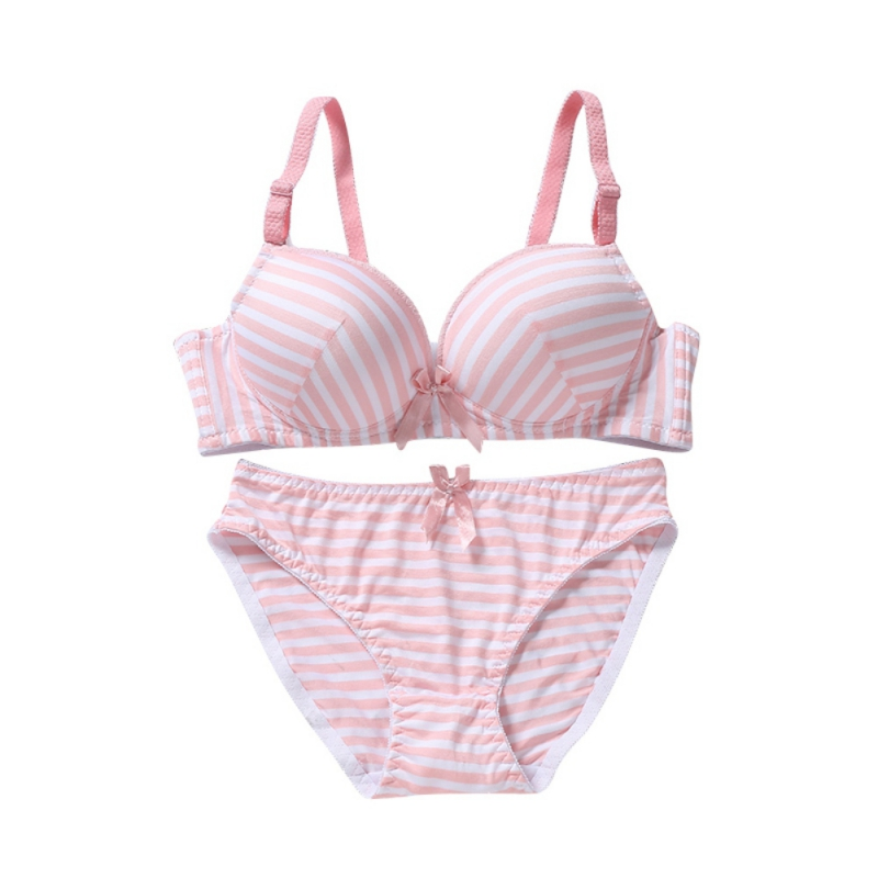 Sexy Women's Seamless Stripe   Bra     Sets   Thin Gather Adjustable Padded Brassiere Lingerie Underwear +  Brief     Sets   3Color
