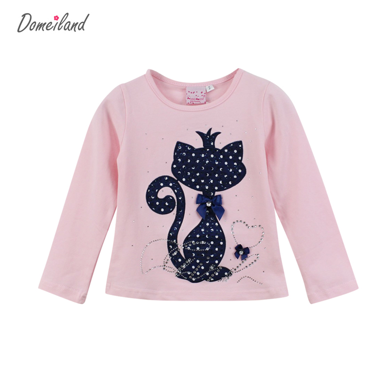 Fashion brand domeiland 2017 Kids Girl Clothes Print Rhinestone Cat Bow Long Sleeve T Shirts Elastic