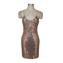 Hot Sexy Woman Spaghetti Straps V Neckline Package Hips Mini Dress  Champagne Sequin Bodycon Dresses for 1cd439a1b1e1