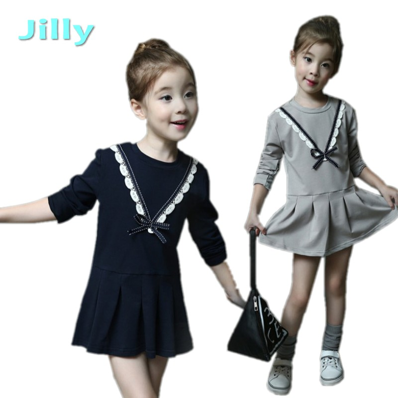 Baby Girl Clothes Kids Baby Girls Long Sleeve O-neck Dress autumn winter Cotton Dresses long sleeve children Clothes Kids Dress платье для девочек baby girl clothes 2015 baby baby girls clothes