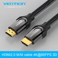 Vention HDMI Cable 1m 2m 3m 5m HDMI to HDMI cable HDMI 2.0 4k 3D 60FPS cable for HD TV LCD laptop PS3 projector computer cable