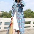 JN104 Spring 2016 New Arrival ethnic vintage casual loose flowers birds print cotton and linen long maxi womens trench coats