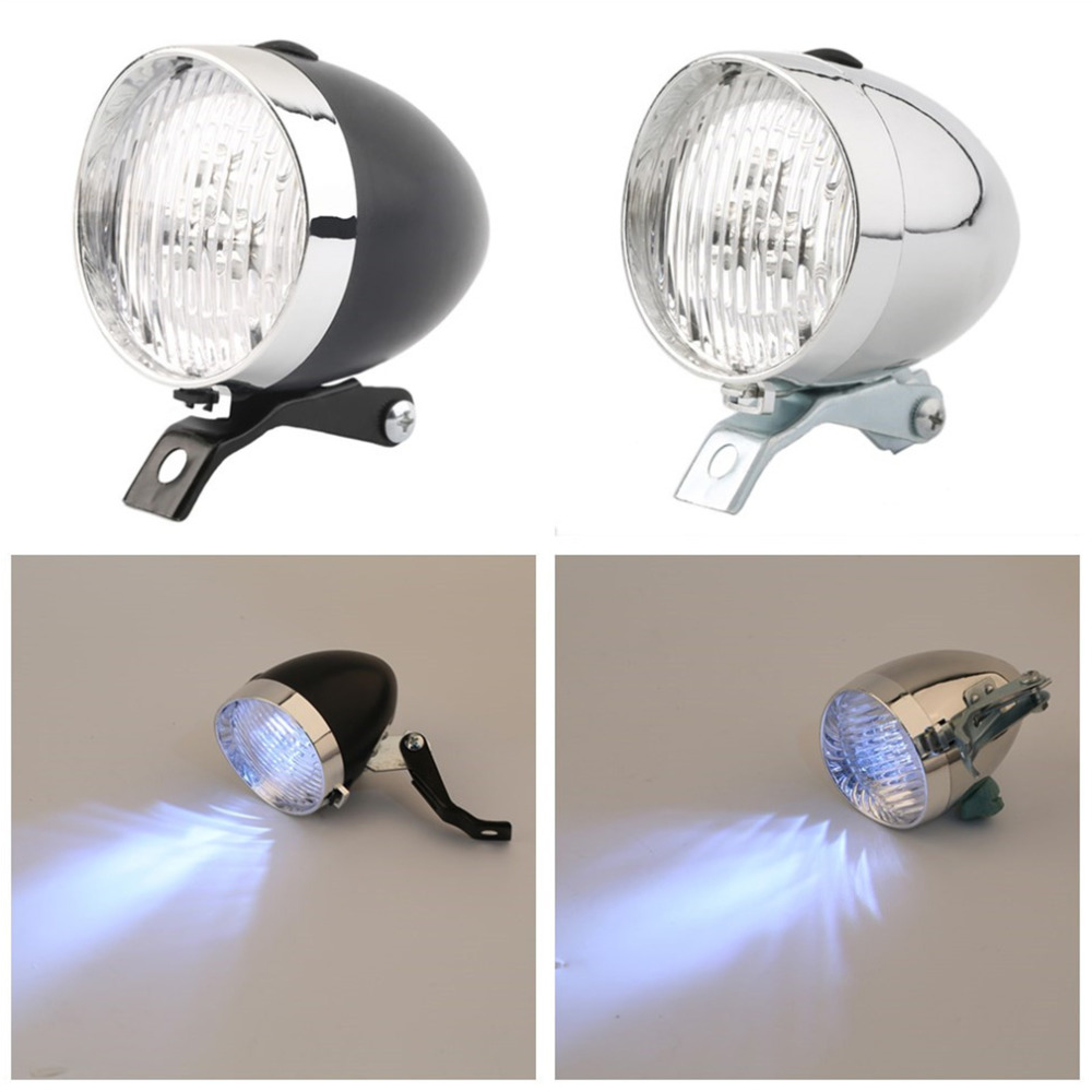 Hot 3 LED Bicycle Headlight Bike Front Light High Quality Retro  Headlight Vintage Flashlight Lamp