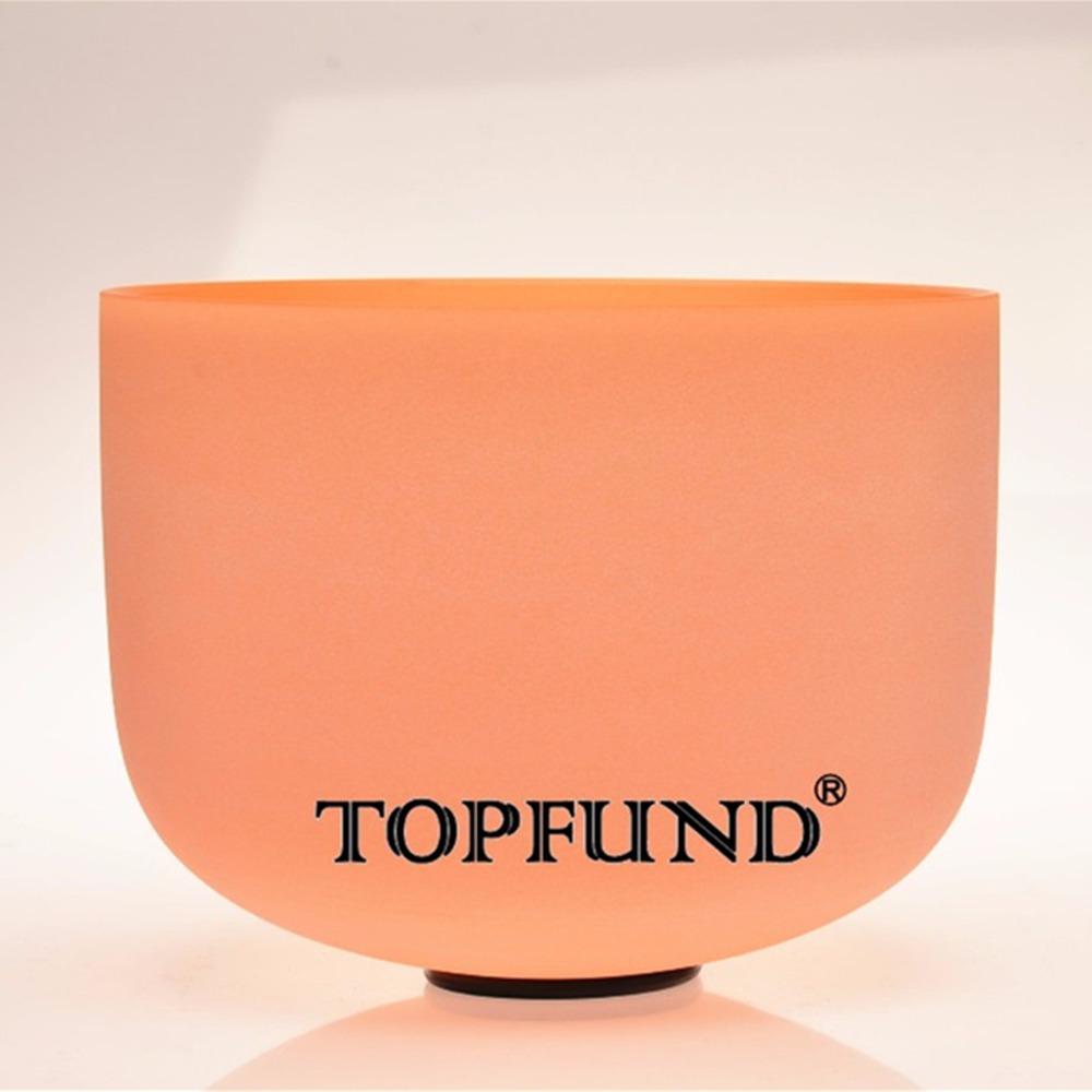 TOPFUND Orange Colored Frosed Quartz Crystal Singing Bowl 432HZ Tuned D# Sexual Chakra 10 With Free Mallet and O-Ring topfund yellow frosted quartz crystal singing bowl 432hz tuned e solar plexus chakra 10 with free mallet and o ring
