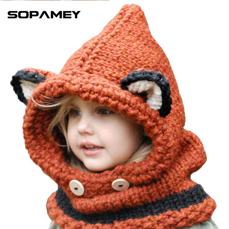 Winter Outdoor Knitting Top Hat Cat Fox Soft Warm Hats for Baby Girls Boys Shawl Hooded Cowl Beanie Caps for Kids Children Bone 2017 yhkgg the girl s hat warm and comfortable in winter hats the ornament of a flower cute baby hat knitting hat