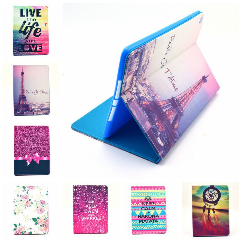 Lovely Cute Tower Painting Case for Apple ipad air 2 New Folio Stand Case Cover for ipad air2 for ipad6 Tablet PC Case 13 Colors hand strap shockproof stand case armor cover for ipad air 2 ipad 6 full protective stand case for ipad air2 ipad6