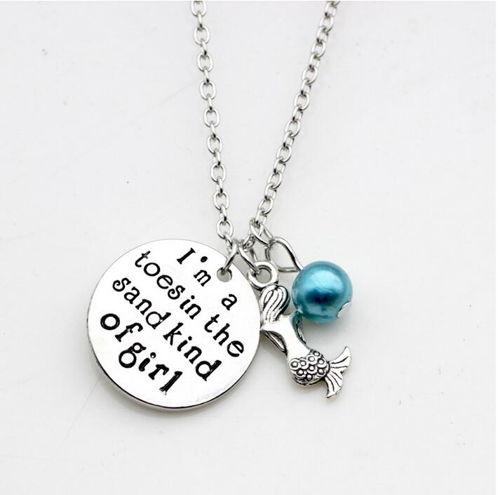 12pcs/lot New Fashion necklace Little mermaid Necklace I m a toes in the Sand kind of girl Charm Pendant necklace Jewelry gift