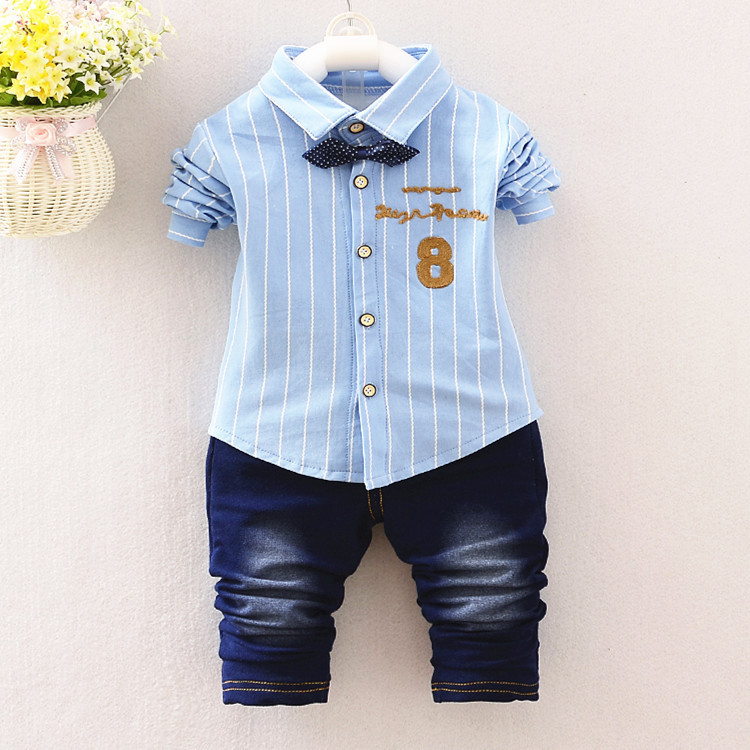 5c2cff949de8 Fashion Kids Clothes Spring   Autumn Baby Boys Sets Kids Long Sleeve Sports  Suits Bow Tie T shirts + jeans Pants Boys Clothes-in Clothing Sets from  Mother ...