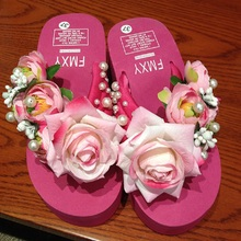 Summer  Rose Floral and Beading Beach Wedges Flip Flops Women'S slippers Womens Shoes Chausson Femme Schoenen Woman Shoes