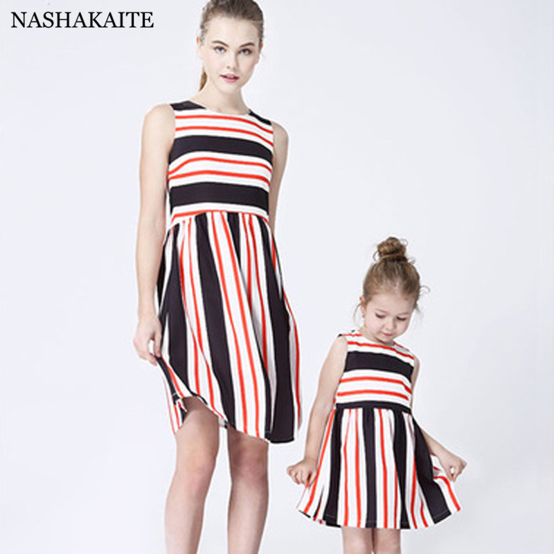 Mother daughter dresses Patchwork Stripe Sleeveless Mommy and me clothes mini me mama and daughter dress Family Look NASHAKAITE ...