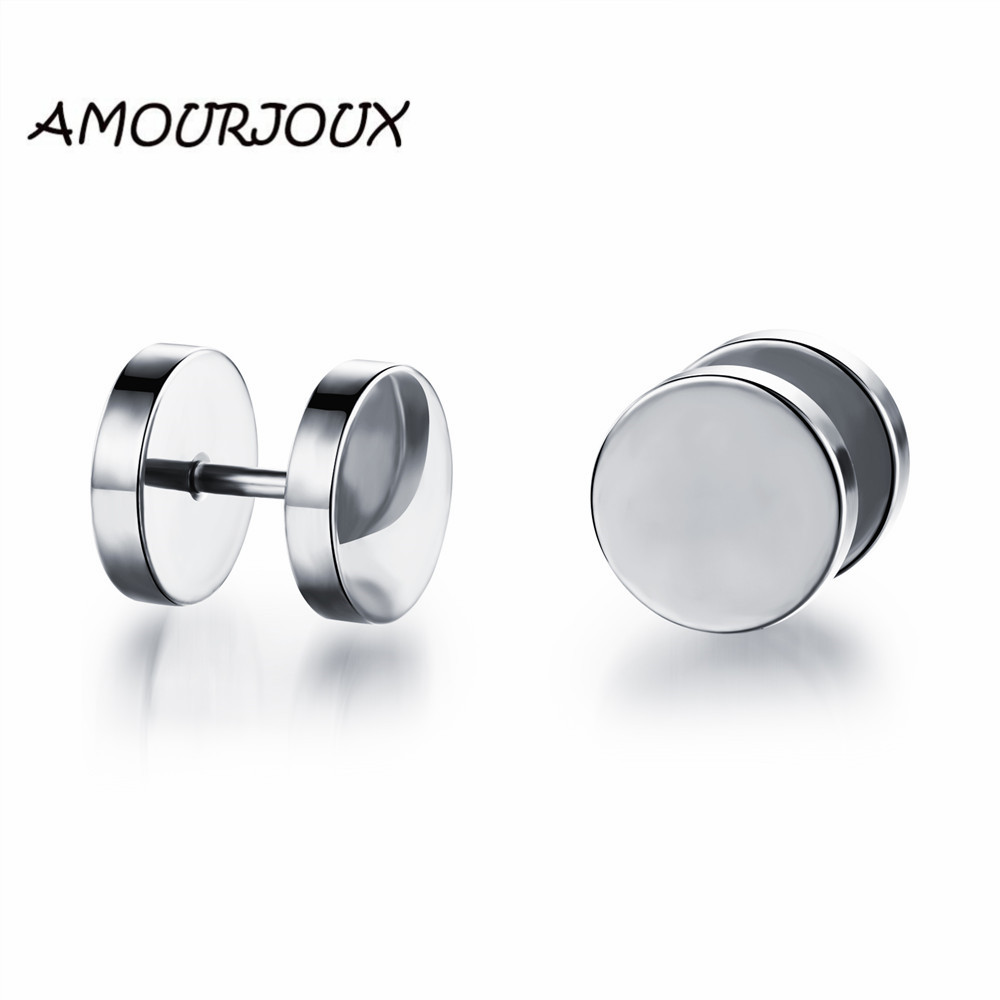 AMOURJOUX Round Dumbbell Shaped Gold White Silver Stainless Steel 3 Colors Male Stud Earrings for Men Studs Earring for Man