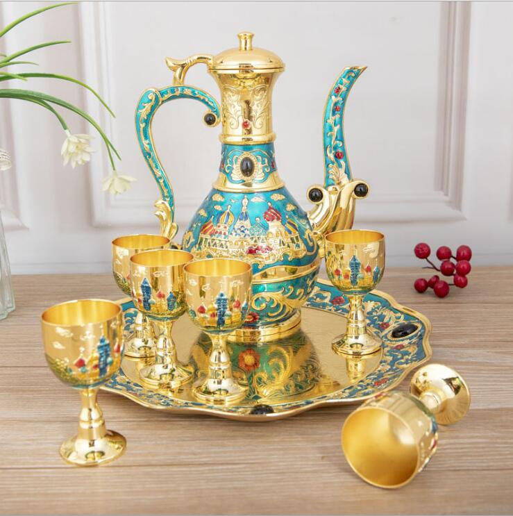 8 PCS/set zinc alloy metal wine set kitchen dining bar wine decanter moonshine accessories for home decoration JJ080