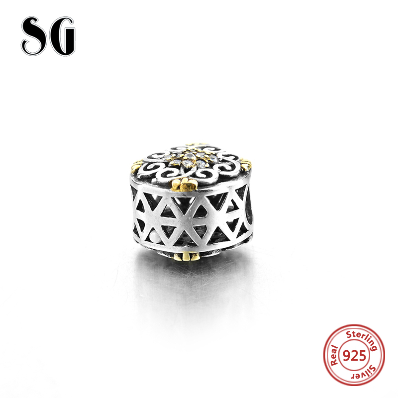 925 Sterling Silver charms jewelry hollow flowers Beads Clear yellow CZ Peace Charms Fit Authentic pandora Bracelets Love SG in Beads from Jewelry Accessories
