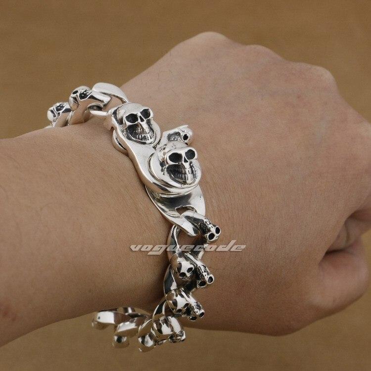 8 Lengths 925 Sterling Silver Handmade Skulls Mens Biker Punk Bracelet 9N005 Free Shipping