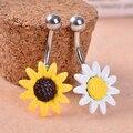 Подсолнечное Цветок Кнопка Штангой Бар Живота Кольца Пупка Пирсинг Ювелирные Изделия