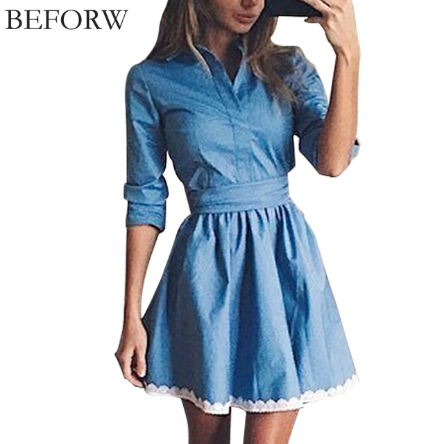 BEFORW Autumn New Fashion Lace Women Dress Leisure Slim Denim Dress Vintage Cute Wind Blue Party Dresses Maxi