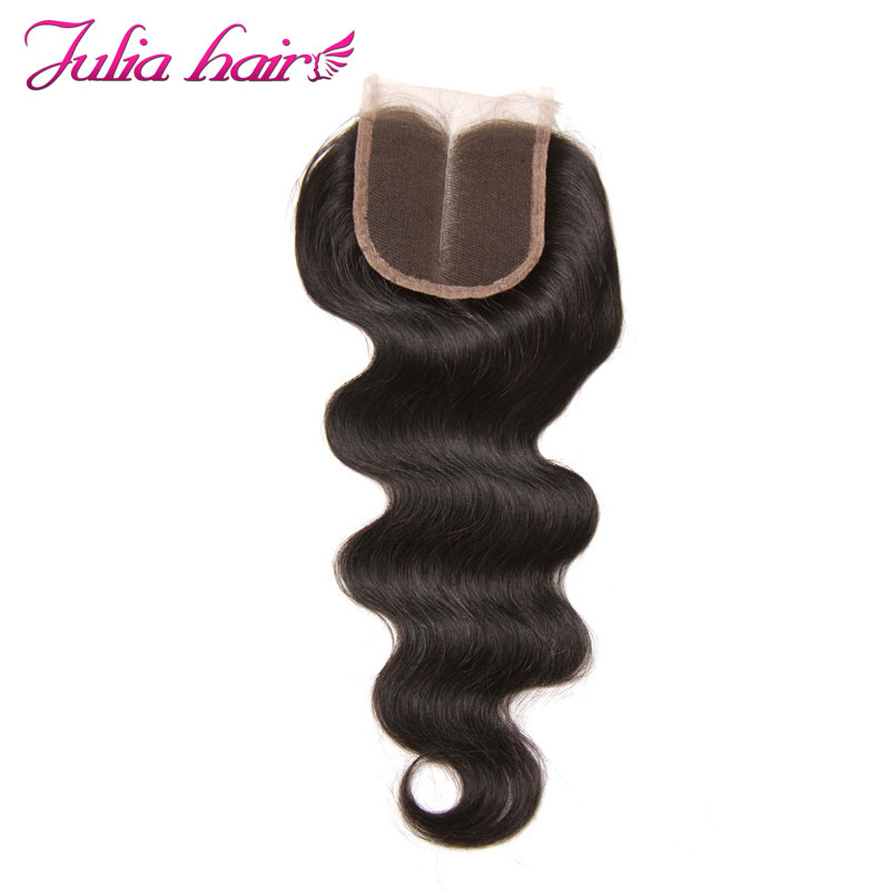 Ali Julia Peruvian Body Wave Hair Closure Middle Part Natural Color 10inches to 20 Inches Remy