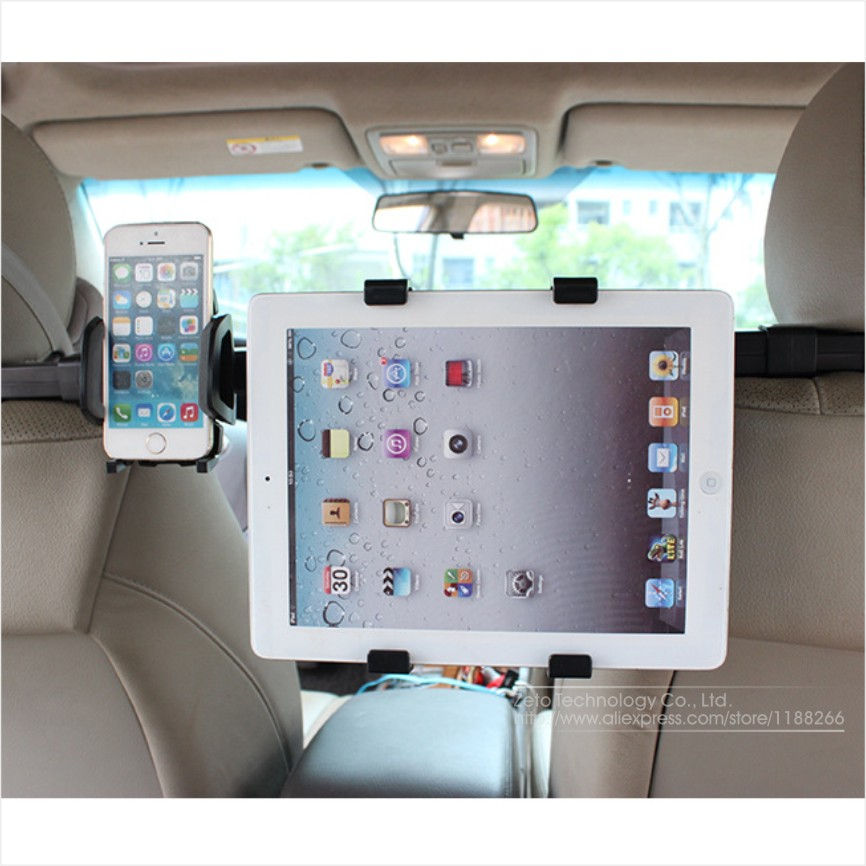 Universal New Adjustable Black Car Back Seat Headrest Mount Holder Stand Bracket Kit For Ipad Tablet Cellphone Iphone