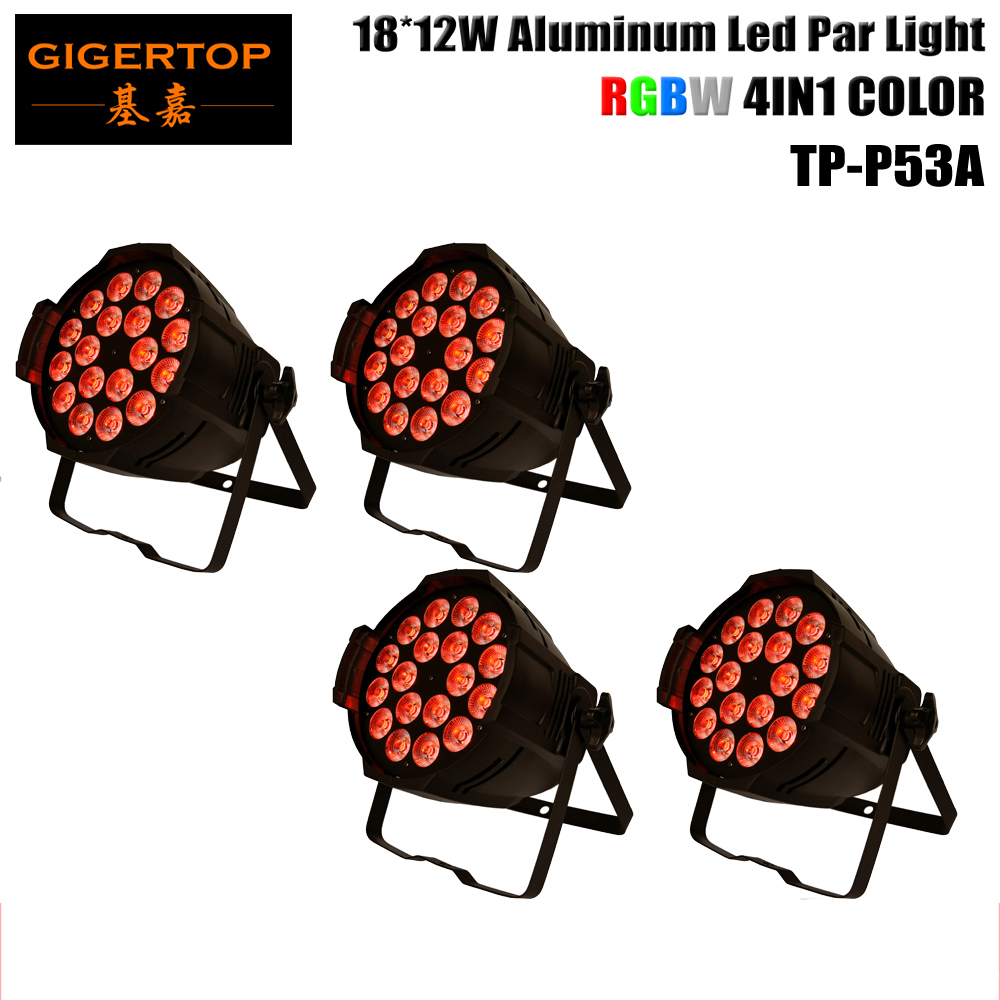 TIPTOP Stage Lighting 4XLOT RGBW Aluminum 18*12W Led Par 64 Cans 4in1 Color Indoor DMX 4/8 Channels 220W Stage Wall Washer