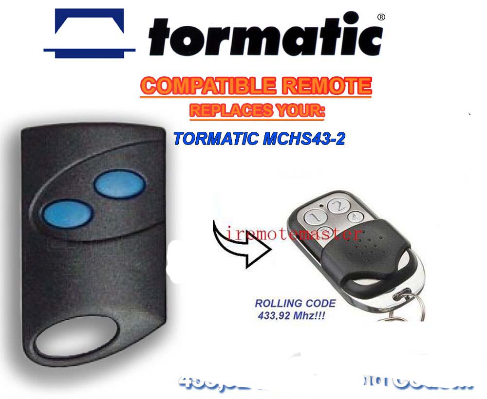 TORMATIC MCHS43-2 remote control replacement Rolling code 433,92mhz twindoor replacement remote control 433mhz rolling code