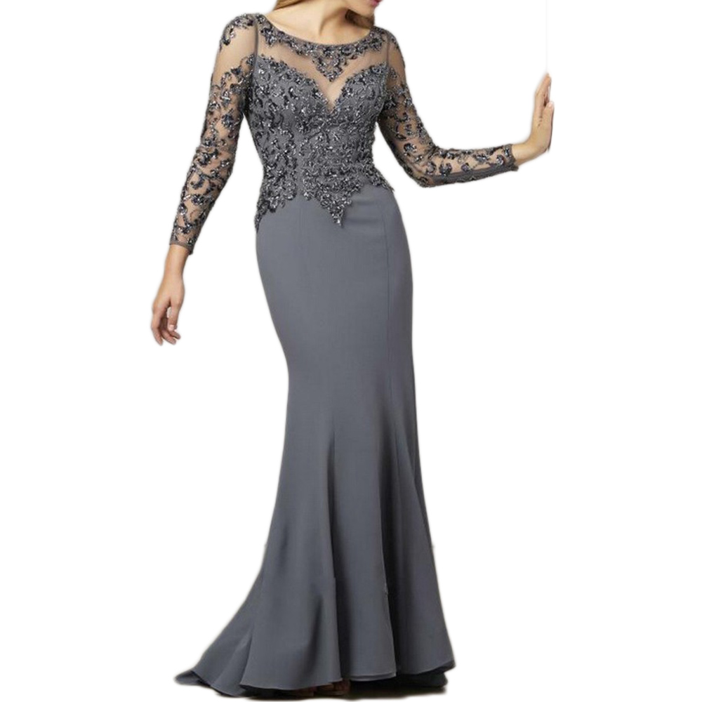 Gray Mother Of The Bride Dress With Long Sleeves Party Gowns Bride Mother Dress Vestido De Madrinha Robe Mere De Mariee
