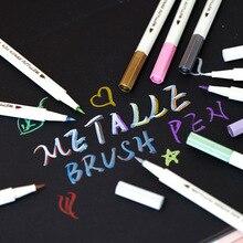 10 unids/lote lápiz de cepillo de metal para rotuladores de papel negro marcador de Color DIY álbum de scrapbooking caligrafía papelería colores A6965