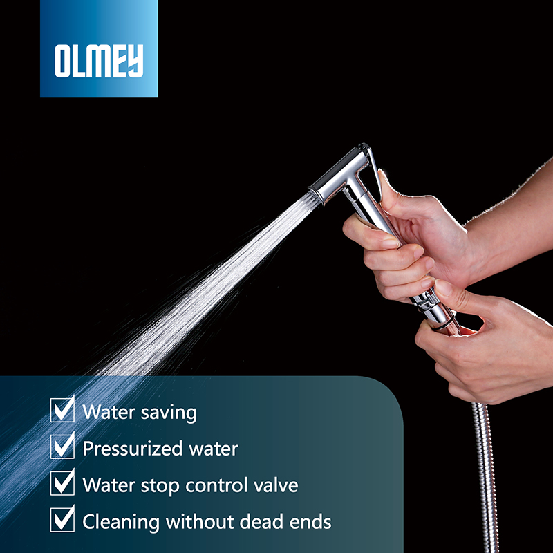 OLMEY Premium Hand Held Brass Bidet Sprayer Diaper Shattaf Complete Set for Toliet Hand Shower Attachment 24001