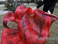 "Tie-dye black+red, 1 pair(1pc right+1 pc left) 1.8m*0.9m(71""*35"") tie-dye belly dance silk fan veil, real flowy silk!"