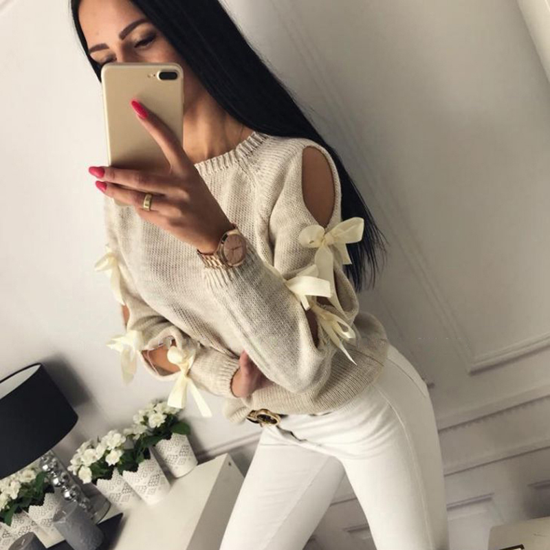 Pullover Winter Sweater Casual Jumper Long-Sleeve Round-Neck Bowknot Women Knitted Hollow-Out