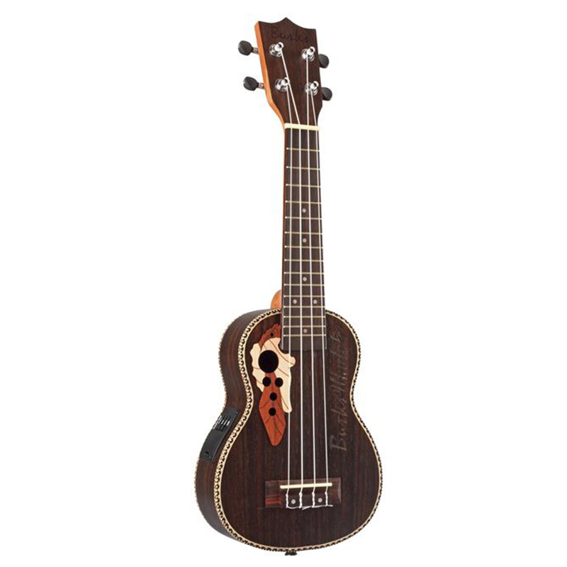 Ukulele 21 Acoustic Rosewood Soprano Ukulele 4 Strings Guitar Ukelele with Built-in Electric EQ Pickup + Gig Bag