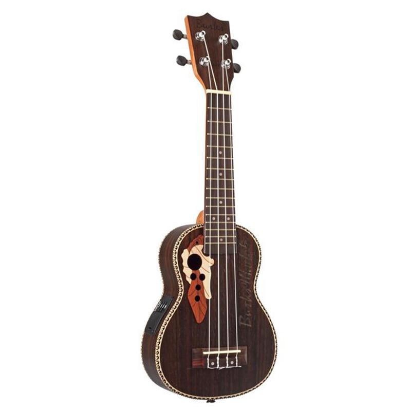 Ukulele 21 Acoustic Rosewood Soprano Ukulele 4 Strings Guitar Ukelele with Built-in Electric EQ Pickup + Gig Bag
