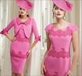 De Color rosa Hasta La Rodilla Más El Tamaño de Encaje Novias Vestidos de La Madre Para Las Bodas de La Novia Vestido de La Madre Con la Chaqueta
