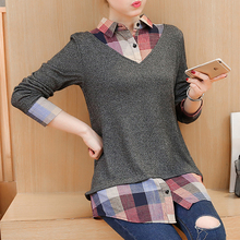 Womens Tops spring Blouses Fake Two Pieces Plaid Patchwork Long Sleeve Lady Shirt Plus Size Women's Tunic Top Clothes 601i цена 2017