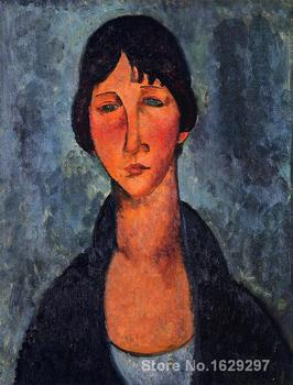 Portrait art abstract The Blue Blouse by Amedeo Modigliani High quality Handmade