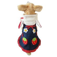 2016 new arrivals pet dog Strawberry pattern clothes cute pet dog dresses winter poodle chihuahua dog shirt pet products