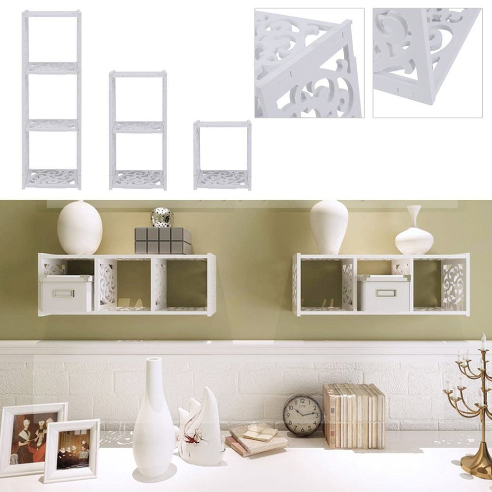 Three Sets Of WPC Wall Hollow Carved Cubical Display Shelf Bookshelf Bookcase CD/DVD Organizer Display Rack Storage Shelving 2 tiers diy shelving cd book storage box unit display bookcase shelf home office houten pop estantes madera atril para libros
